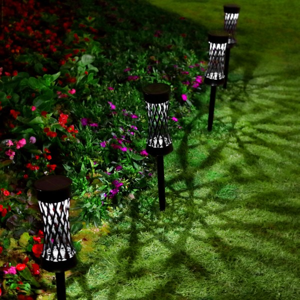 Solar Lights Outdoor Upgraded Bright Solar Pathway Lights Waterproof Auto On / Off Garden Lights  Wireless Sun Powered Landscape Lighting for Yard Patio Walkway Landscape Spike Path Light(6 Pack)